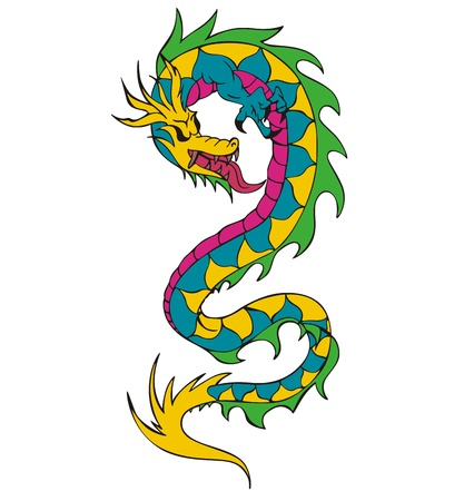 Long chinese dragon worm. Color vector illustration. Vector