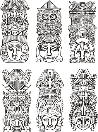 Abstract mesoamerican aztec totem poles. Set of black and white vector illustrations. Stock Vector - 16668797