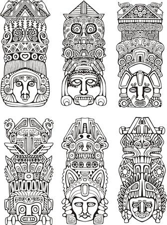 simbolos religiosos: Resumen mesoamericanas tótems azteca. Conjunto de ilustraciones del vector blanco y negro.