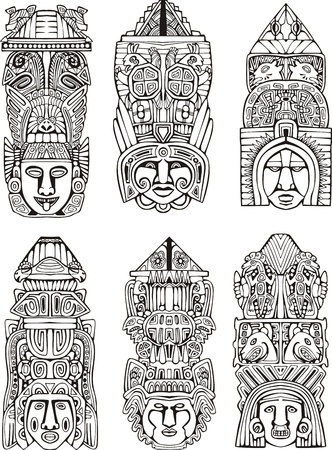 indian mask: Abstract mesoamerican aztec totem poles. Set of black and white vector illustrations.