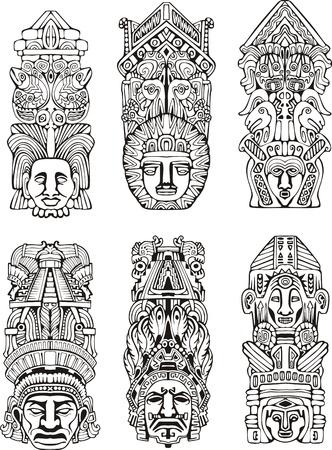 メソアメリカ アステカのトーテム ポールを抽象化します。黒と白のベクトル イラストのセットです。