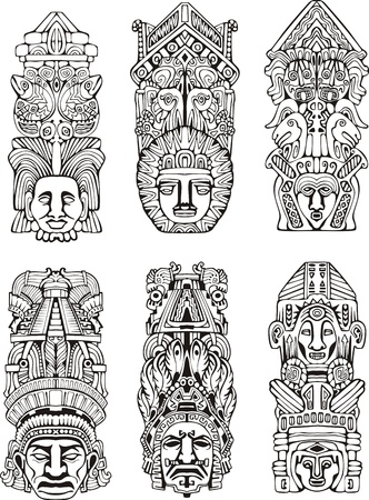 indian artifacts: Abstract mesoamerican aztec totem poles. Set of black and white vector illustrations.