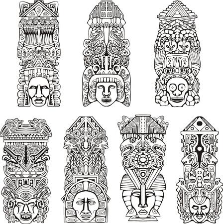 totem indiano: Astratto totem mesoamericana azteca. Set di illustrazioni in bianco e nero. Vettoriali