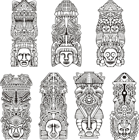 native indian: Resumen mesoamericanas t�tems azteca. Conjunto de ilustraciones del vector blanco y negro.