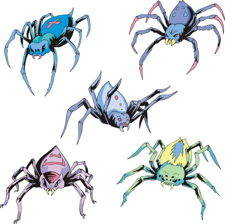crawly: Set of spider tattoos. Color vector illustrations. Illustration