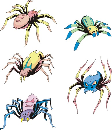 Set of spider tattoos. Color vector illustrations. Stock Vector - 16668779