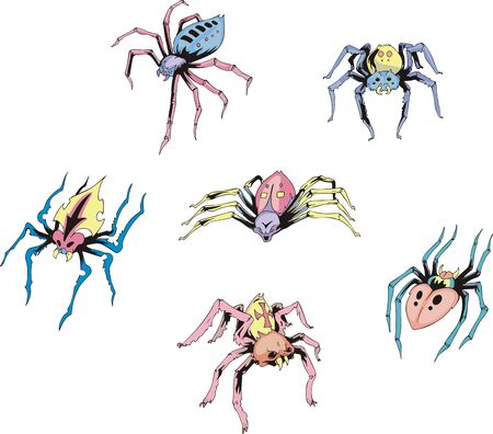 Set of spider tattoos. Color vector illustrations. Stock Vector - 16668782