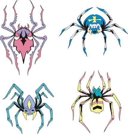 Symmetrical spiders. Set of color vector illustrations. Vector