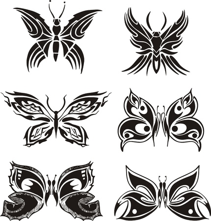Symmetric butterfly tattoos.  Vector