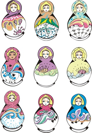 Russian ornamental matryoshka.  Vector