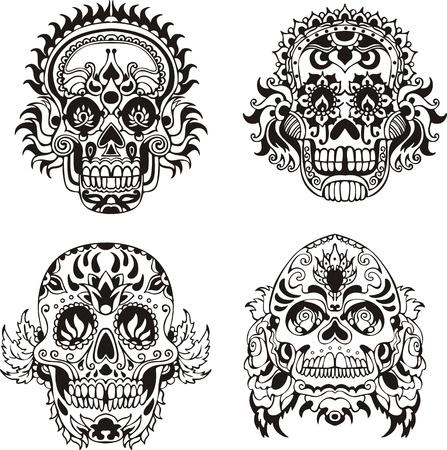 Floral ornamental skulls.  向量圖像