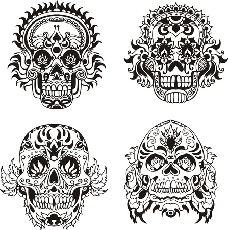 sugar skull: Floral ornamental skulls.  Illustration