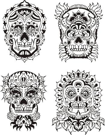 花の装飾的な頭蓋骨。