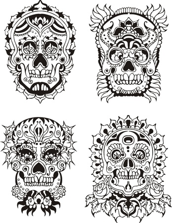 Floral ornamental skulls.  Illustration