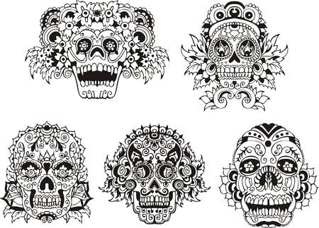 macabre: Floral ornamental skulls.  Illustration
