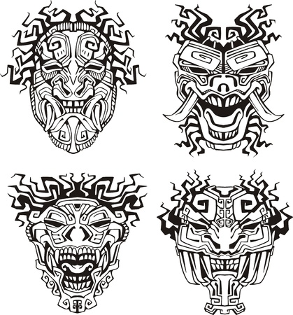 Aztec monster totem masks.  Illustration