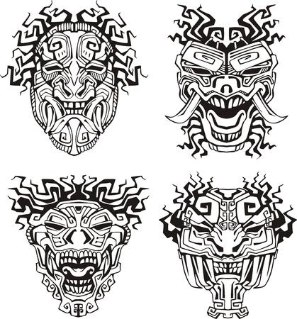cultura maya: Aztecas m�scaras de monstruos tot�micos.
