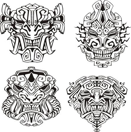 アステカ族モンスター仮面, トーテム マスク。黒と白のベクトル イラストのセットです。  イラスト・ベクター素材