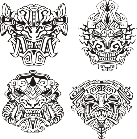 aztec: Aztec monster totem masks. Set of black and white vector illustrations. Illustration
