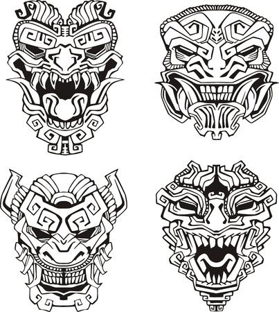 アステカ族モンスター仮面, トーテム マスク。  イラスト・ベクター素材