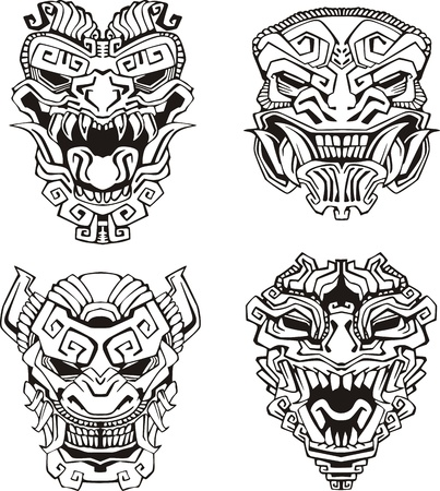 totem: Aztec monster totem masks.  Illustration