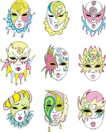Women in Venetian carnival masks.  Illustration