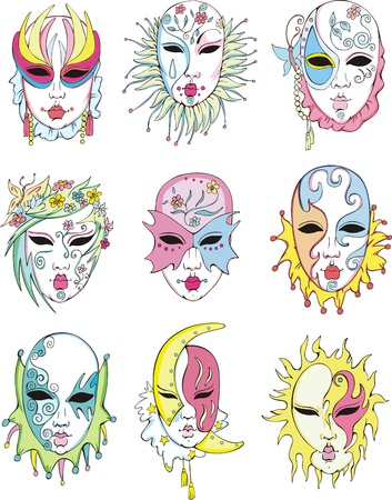 Women in Venetian carnival masks. Vector