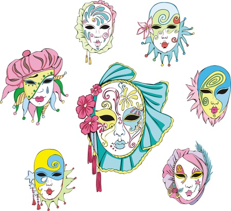 carnival costume: Women in Venetian carnival masks.  Illustration