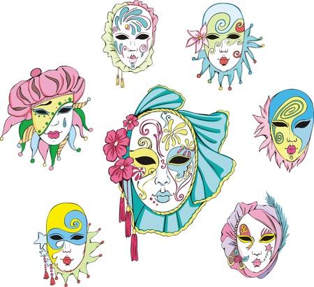 venetian carnival: Women in Venetian carnival masks.  Illustration