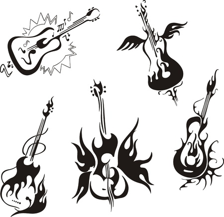 flame wings: Stylized guitars. Set of black and white vector musical emblems.