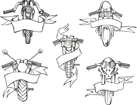 Motorcycle templates with ribbons. Set of black and white vector illustrations. Stock Vector - 16799455