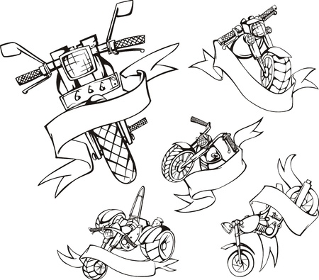 Motorcycle templates with ribbons. Set of black and white vector illustrations. Vector