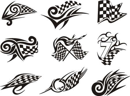 Set of racing tattoos with checkered flags. Black and white vector illustrations. Vector