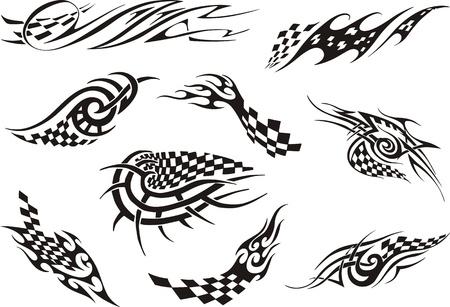 airbrushing: Conjunto de tatuajes de carreras. Negro y blanco ilustraciones vectoriales.