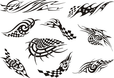 checker flag: Set of racing tattoos. Black and white vector illustrations.