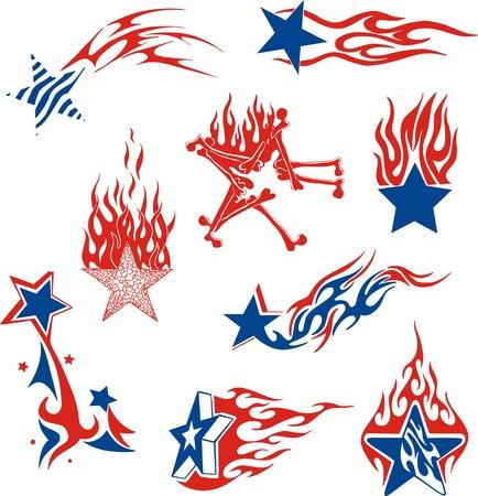 airbrushing: Set de llamas de estrellas. Color de aerograf�a dise�os vectoriales. Vectores