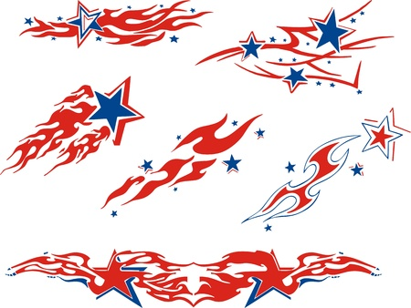 Set of star flames. Color airbrushing vector designs. 向量圖像