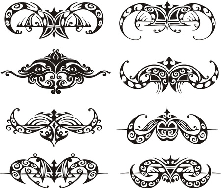 animalistic: Symmetrical tribal vignettes. Black and white vector illustrations. Illustration