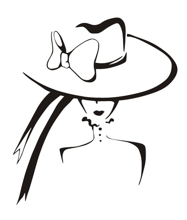 Sketch of elegant woman in hat. Black and white vector illustration. Illustration