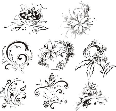 tatouage fleur: Embellissements floraux de style.