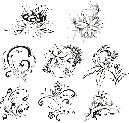 white flower: Stylistic flower embellishments.
