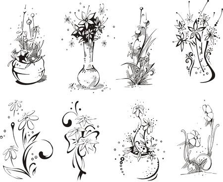 Stylistic flower embellishments Vector