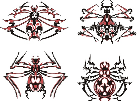 Black and red symmetric spider tattoos.  Stock Vector - 17331795