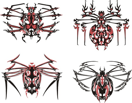 Black and red symmetric spider tattoos.  Stock Vector - 17331798