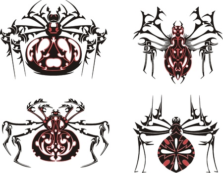 Black and red symmetric spider tattoos. Stock Vector - 17331786