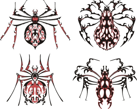 Black and red symmetric spider tattoos. Stock Vector - 17331781