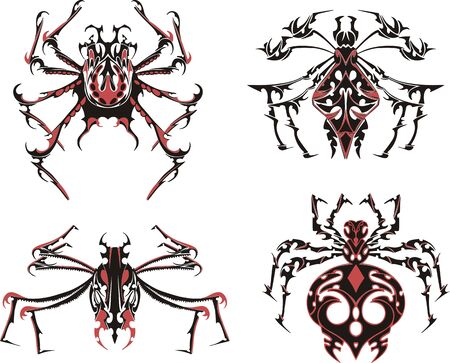 Black and red symmetric spider tattoos. Vector