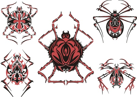 Black and red symmetric spider tattoos.  Stock Vector - 17331889
