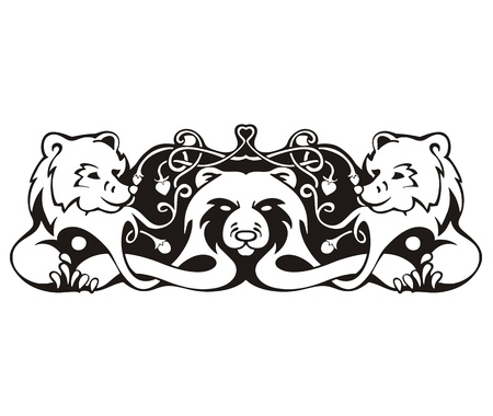 stylistic embellishments: Stylized symmetric vignette with bears. Vector illustration EPS8