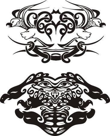 Stylized symmetric vignettes with birds. Stock Vector - 17331751